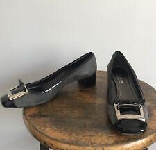 Original Car Shoe Prada Gray Suede Patent Cap Toe Pilgrim Heels Loafer 39 Italy