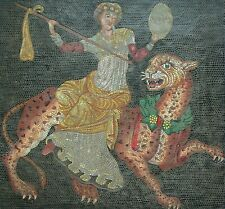 DIONYSUS RIDING PANTHER - Molded Mosaic Style Panel - Signed - Greece - C.1987