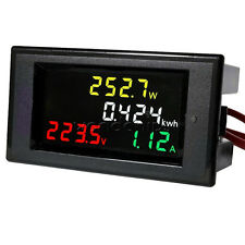 LCD Digital Voltmeter Ammeter Volt Amp Power Kwh Panel Meter AC 80-300V 100A