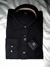 IKE BEHAR NEW YORK QUALITY BLACK PURE LINEN BUTTON STAY COLLAR DRESS SHIRT-NWT-L