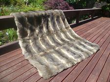 New Zealand Possum Natural Grey Fur King Single Bedspread / Throw