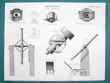ASTRONOMY Achromatic Telescope Transit & Parts - c. 1830 Fine Quality Print