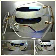 CLASSIC OVERSIZE VINTAGE RETRO Style Clear Lens RIMLESS EYE GLASSES Gold Frame