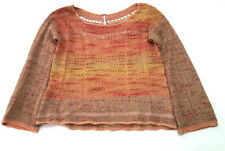 FREE PEOPLE Women's SMALL Bell Sleeve Mohair Blend Multi Sweater Top Shirt h3