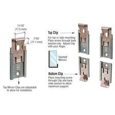 "CRL Nickel Plated Adjustable Mirraco® Mirror Clip Set for 1/2"" Seamed Mirror"
