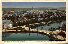 Kiel Panorama vom Rathaus-Turm AK 1914 Feldpostkarte ab Ellerbek nach Oederan