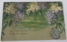 Cartolina d'epoca rilievo Fiori  - postcard - tarjeta 1907