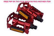"ANODISED RED ALLOY 9/16"" MTB PEDALS ONE PIECE LIGHTWEIGHT BORON AXLE 50% OFF RRP"