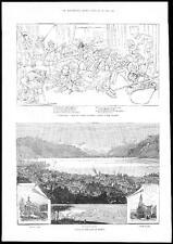 1885 View of VEVEY ON THE LAKE OF GENEVA Switzerland Alps (012)