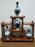 ANTIQUE GIFT SET (Classic White and Blue Porcelain Vase of 4 &Wood stand )