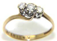 Ladies/womens, 9ct/9carat gold trilogy ring set with diamonds, UK size N 1/2