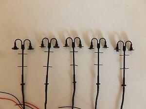 Pack of 5 x 00 Gauge 12v dc Station Platform Working lights Double lamp version