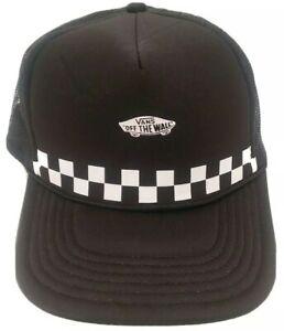 Vans Off The Wall Black Trucker Snap Back Hat Black/White Checkered. Mesh