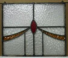 """New ListingOld English Leaded Stained Glass Window Unframed w Hooks Sweep 19.25"""" x 16.5"""""""