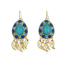 Stunning Gold Plated Turquoise Blue Stone Gold Tassel Dangle Statement Earrings