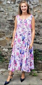Luca Vanucci QVC 2 pocket 100% Linen Sleeveless Maxi Dress Floral Size Medium
