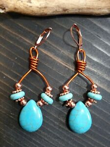 UNIQUE AMBER COPPER WIRE/TURQUOISE HOWLITE BRIOLETTE/COPPER BEADED EARRINGS