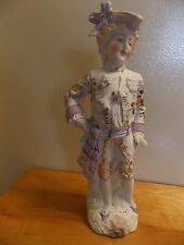 "Vintage Chalkware Folk Art Victorian Dandy (Man) 11 3/4"" Tall 4"" Wide"