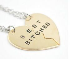 2 colliers pendentif coeur doré à séparer Best Bitches  + chaines argentés.