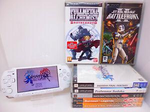 😍 SONY PSP SLIM 3004 BLANCHE + 9 JEUX STAR WARS FULLMETAL DISSIDIA BURNOUT 😍
