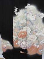 Black Silk Japanese TOMESODE KIMONO w/Crests, Flower Cart N854