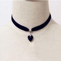 Retro Black Velvet Choker Crystal Heart Pendant Gothic Handmade Necklace
