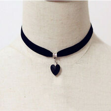 Retro Black Velvet Choker Crystal Heart Pendant Gothic Handmade Necklace