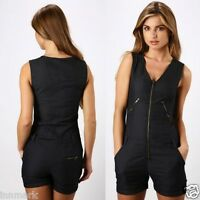 239 FASHION SEXY PANTS OVERALL DENIM ZIP FRONT PLAYSUIT SIZE UK 8 - 12