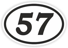 57 FIFTY-SEVEN NUMBER OVAL STICKER bumper decal motocross motorcycle Aufkleber