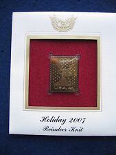 2007 Holiday Reindeer Knit First FDI Replica FDC 22kt Gold Golden Cover Stamp