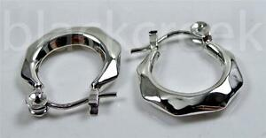 925 Sterling Silver ~ Circle Open~ Angular ~ Faceted ~ Shiny~ Hoop Earrings