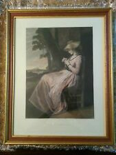 "Framed Print (Restrike Etching) ""The Seamstress"" by British artist George Romney"