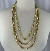 Vintage Georgiou Shiny Gold Tone Metal Bead Multi Strand Necklace Beaded Signed