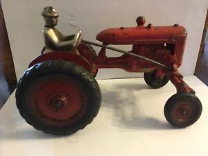 1927 ARCADE Red International  IH Farmall Cast Iron Toy Tractor w Driver