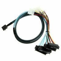 Mini SAS SFF-8643 to 4 SAS 29pin SFF-8482 data Server Cable with IDE Power New