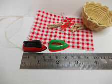 laundry irons (plastic) and basket for larger scale dollshouse items