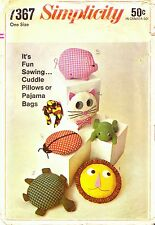 Vintage Simplicity 1967 Sewing Pattern, Set of 6 Pillows, Toys, Repro Copy