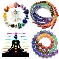 """Healing Reiki 7 Chakras Yoga Natural Gemstone Round Beads 16"""" 4mm 6mm 8mm 12mm"""