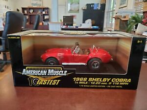 1966 Shelby Cobra Red 10 Fastest 1:18 American Muscle ERTL DieCast NOS