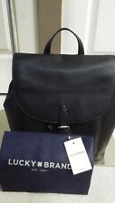 Lucky BRAND Hayes Genuine Leather Black Drawstring Backpack