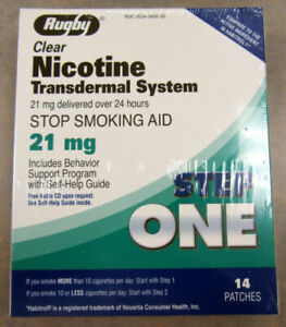 1 Bx  STEP 1  Rugby Nicotine Stop Smoking Clear Patch (21mg) -14 ct- exp 4/2023