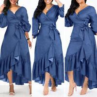 Fashion Womens Kaftan Puff Sleeve Evening Formal Dresses Asymmetric Long Dress