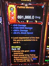 DIABLO 3 MODDED PRIMAL ANCIENT WEAPON FAITHFUL MEMORY HIGHEST DPS XBOX ONE