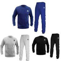 Mens Plain Crew Neck jogging suit Full Tracksuit Sweat Shirt Bottoms Top Fleece