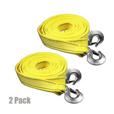 5 Tons Car Tow Cable Towing Strap Rope with Hooks Heavy Duty 20 FT - 2 Packs