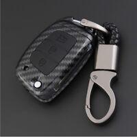 Carbon Fiber Shell+Silicone Cover Remote Key Holder Fob Case For Hyundai Sonata