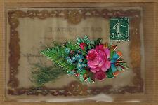 CPA Fantaisie celluloïd fleur rose ajoutis carte gondolée kh081