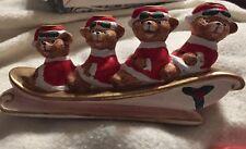 Vintage Santa Bears Porcelain Candle Holder Set With Original Candles In Box