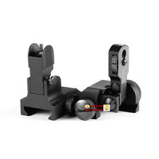 Metal Front&Rear BUIS Floding Iron Sight Set QD Attach 20mm Rail 4 Rifle Hunting