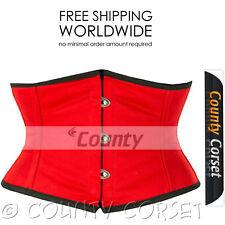 Full Steel Boned Cincher Shaper Mini Waspie Waistbust Sexy Red Cotton Corset